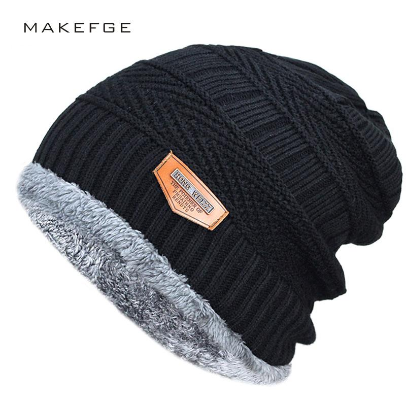 bca778dbc12 Men s Winter Hat 2017 Fashion Knitted Black Hats Fall Hat Thick And ...