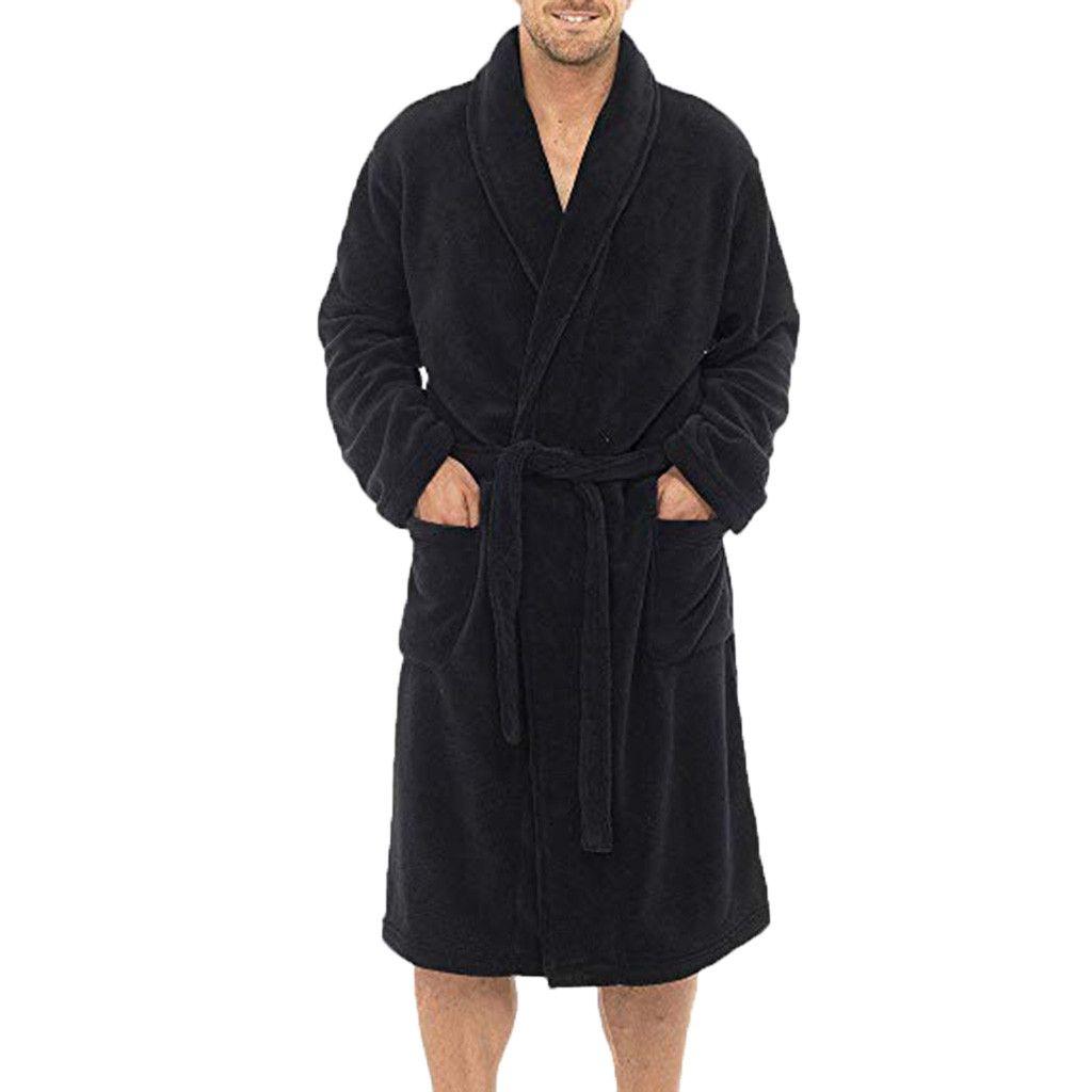 44363d2a Compre Bata De Invierno Para Hombre Cálido Súper Suave Franela Coral Fleece Bata  De Baño Para Hombre Kimono Bata De Baño Bata Masculina Batas A $50.1 Del ...