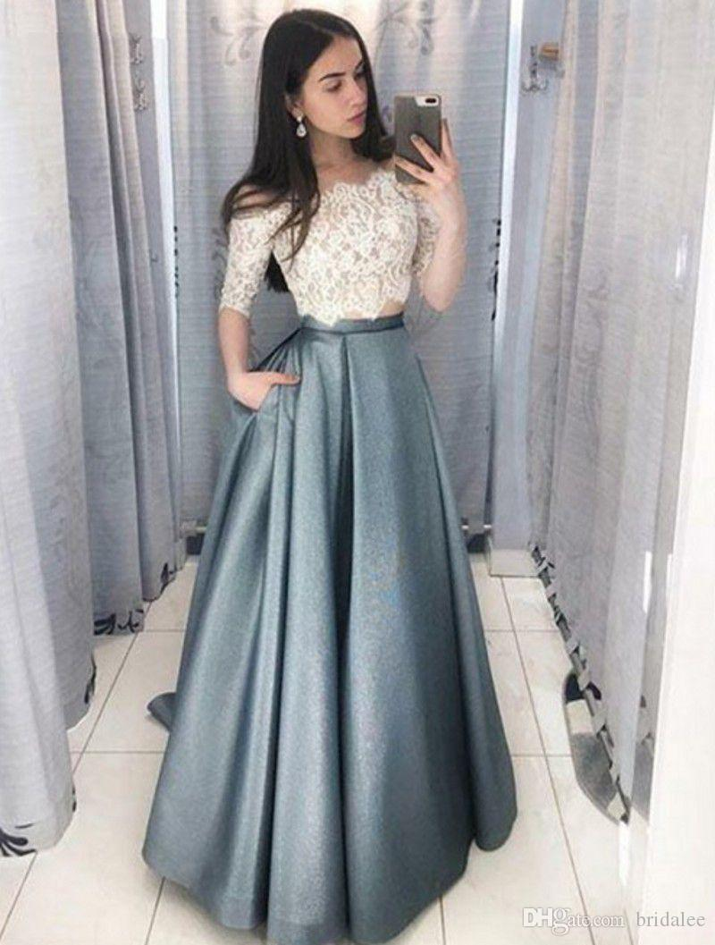 b299bb543675d Elegant Half Sleeve Lace Prom Dresses Two Pieces Long Satin Skirt Party  Gowns Off The Shoulder A Line Prom Dress 2019