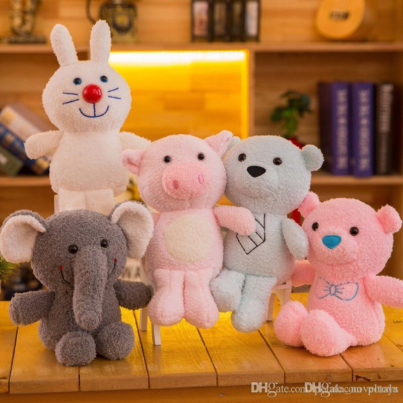 Bear Plush Toys Stuffed&Plus Animals Rabbit Pig Elephant Lovely plush doll bouquet gift toy for children Home wedding Decor interactive Grey