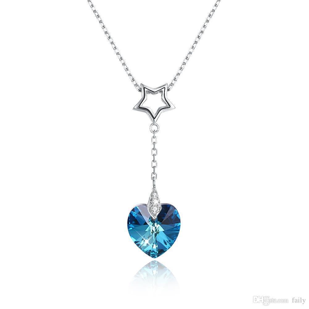 0a10abea3d3e Compre Joyas Antiguas Dama Colgante De Plata Corazón Colgante De Cristal  Collar De Piedras Preciosas Azul Y Oro De Dos Colores De Moda Femenina  Regalo De La ...
