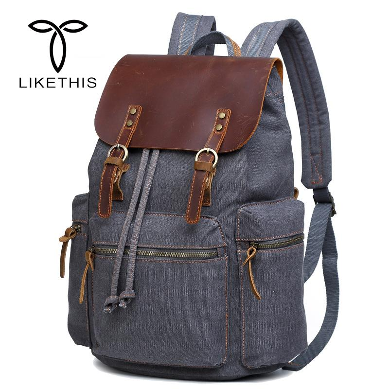 New Vintage Leather Military 16 Inch Backpacks Men/women School Backpacks Men Travel Bag Big Canvas Backpack Large Bag Berchirly
