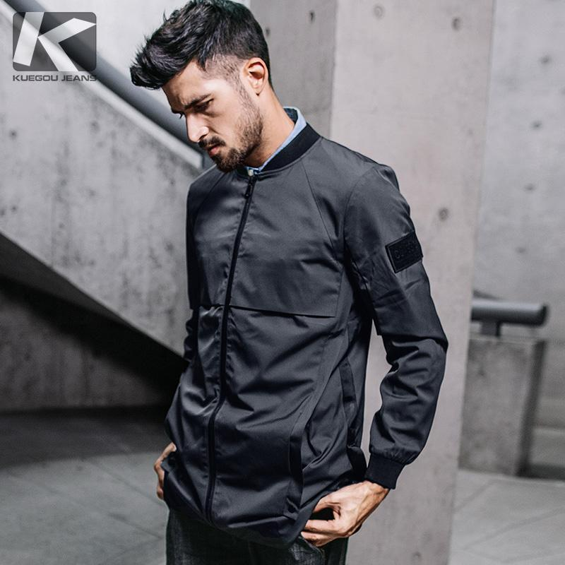 KUEGOU New Autumn Mens Hooded Trenchs Spliced Letter Gray Long Coats Clothing Man's Slim Overcoat Male Windbreaker Jackets 3832