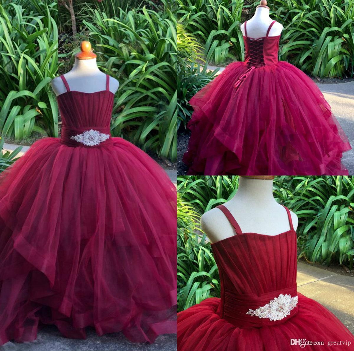 709ddf00b Burgundy Ball Gown Flower Girl Dresses Spaghetti Lace Up Toddler Princess  Pageant Gowns First Communion Gowns For Wedding Party Dress Flower Girl  Ivory ...