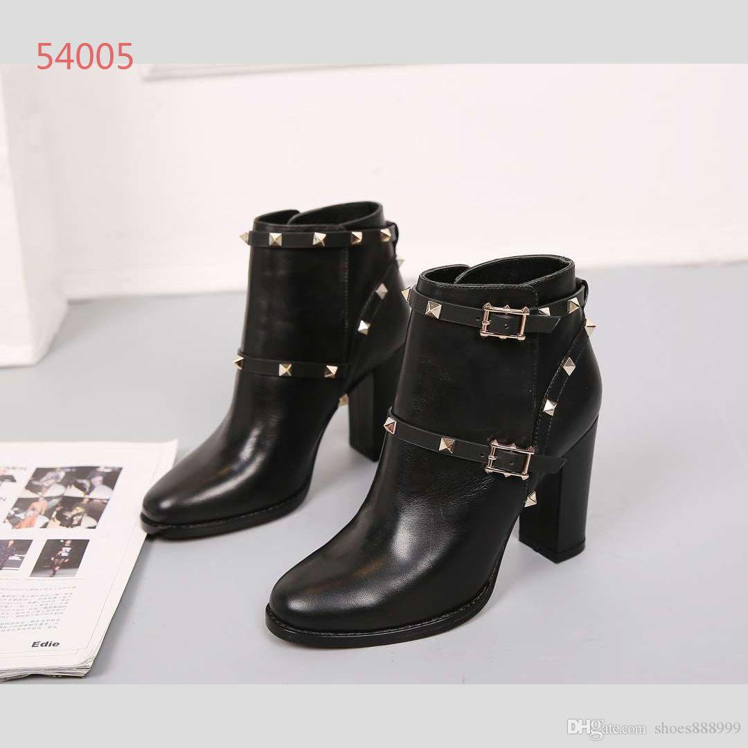 2019 New Designer shoes high heels boots Womens luxury Classic Shoes Black genuine leather rivet boots With Boxes