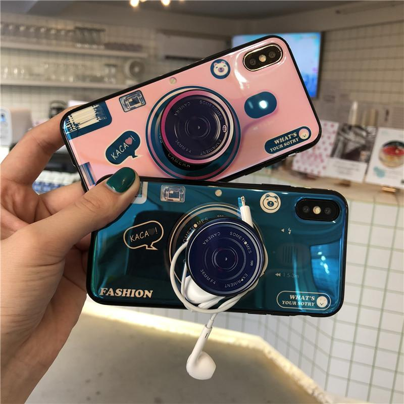 cheaper b4fe5 26d96 Vintage Idear Camera Phone Case For iphone X Case For iphone 6 6s 7 8 plus  Cover Luxury Blu-ray Soft Cases With Mobile Holder