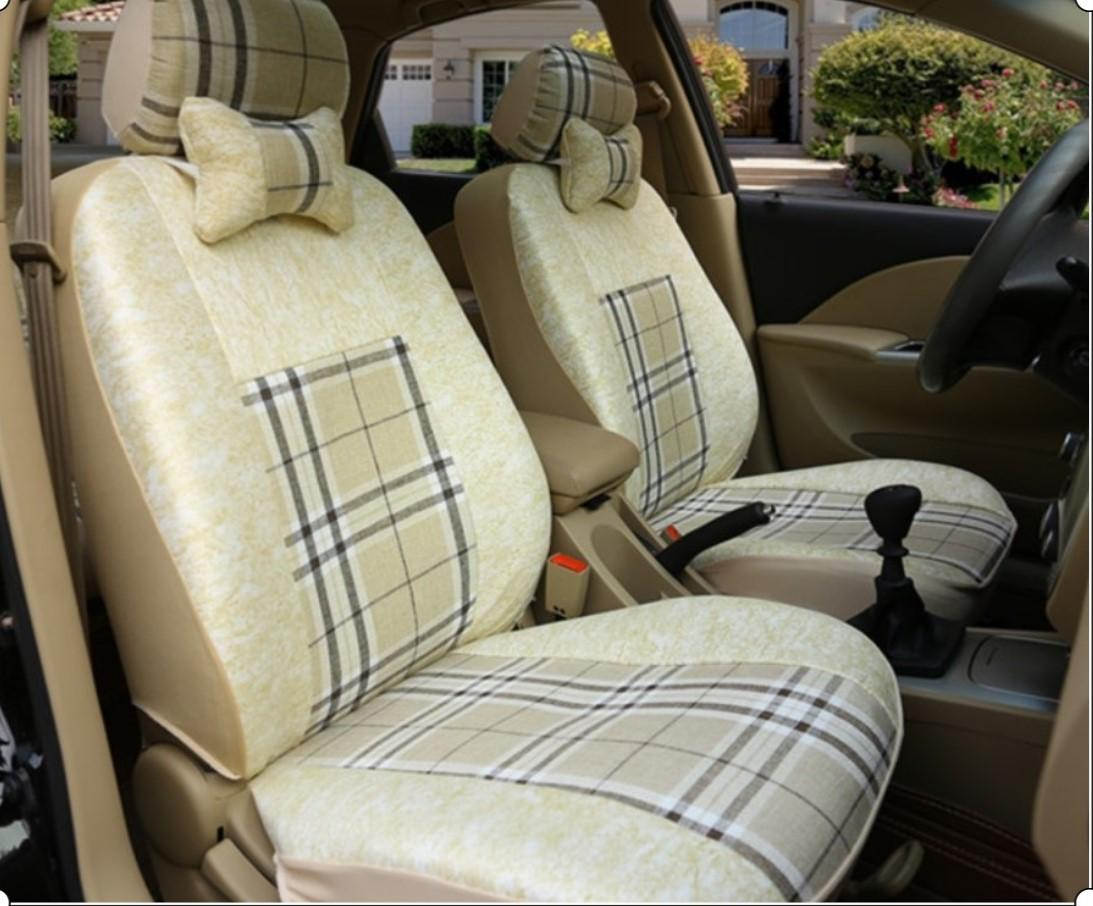 Linen Cloth Car Seat Covers for Dodge Challenger Accessories For Car Seat Cover Set Ice Silk & Linen Cloth Protecto