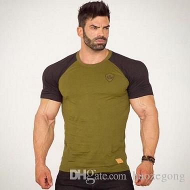 Camiseta Paneled Hombre Sporting Fitness Ropa Hombres Algodón Tshirt Moda Manga Camisa Musculosos Corta Chicos De Gym KTFJl1c