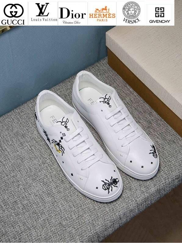 Vvtisks6 New Electric Embroidery White Shoes V319 Men Dress Shoes Moccasins Loafers Lace Ups Monk Straps Boots Drivers Real Leather Sneakers