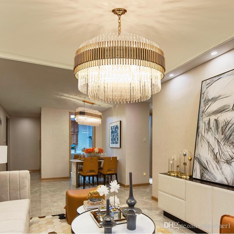 Hot Modern Crystal Chandelier Luxury Living Room Stainless Steel Bedroom Round Hotel Lobby Art Light Restaurant Lighting LED Lights Outdoor