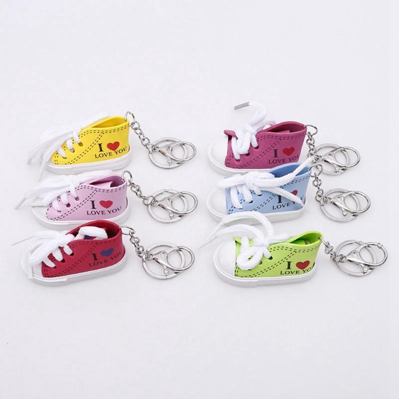 Mini Hip Hop I Love You Canvas Sports Shoe Keychain Women Blue Pink Red Green Sports Shoes Keyring Doll Funny Boys Gilrs Gifts