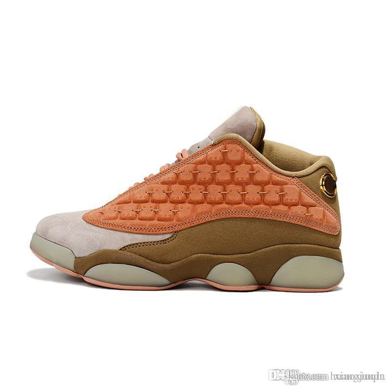 new concept bc987 e84a0 Cheap retro 13s basketball shoes new aj13 black red orange bred Tan Brown  Gold Yellow youth kids j13 Jumpman XIII sneakers boots with box