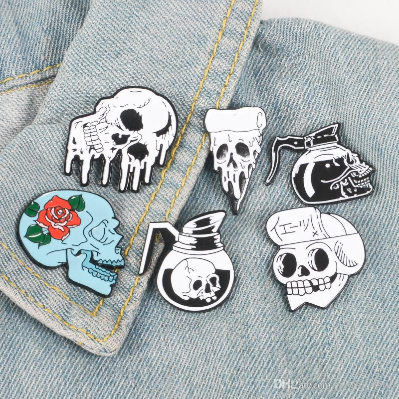 17a85a7f253 2019 Rose Flowers Japanese Samurai Ninja Skull Pins Coffee Flower Pizza  Skeleton Lapel Pins Punk Dark Jewelry Brooches For Men Women From  World_wide, ...