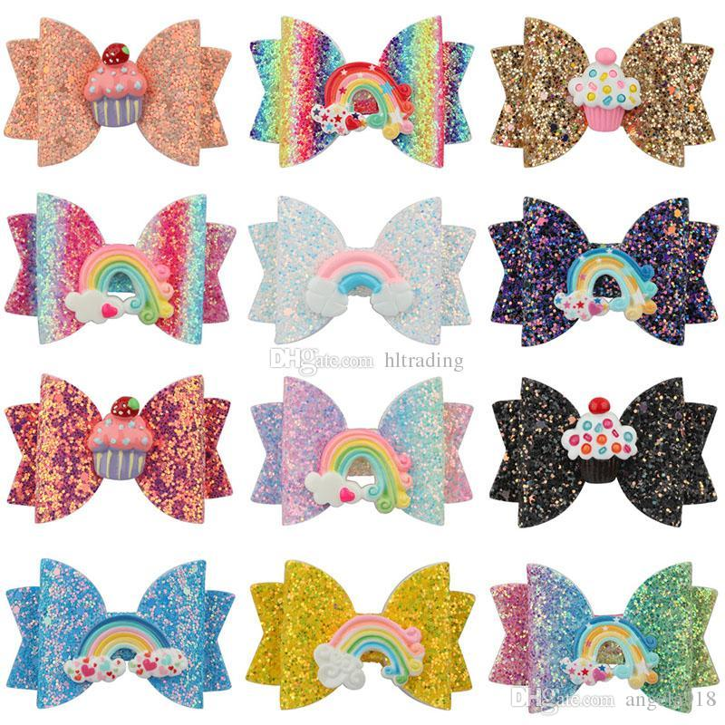 3 inch Baby Bow Hairpins Sequin fruit butterfly Rainbow cake Hair grips children Girls Hair Clips Kids Hair Accessories Barrettes C6823