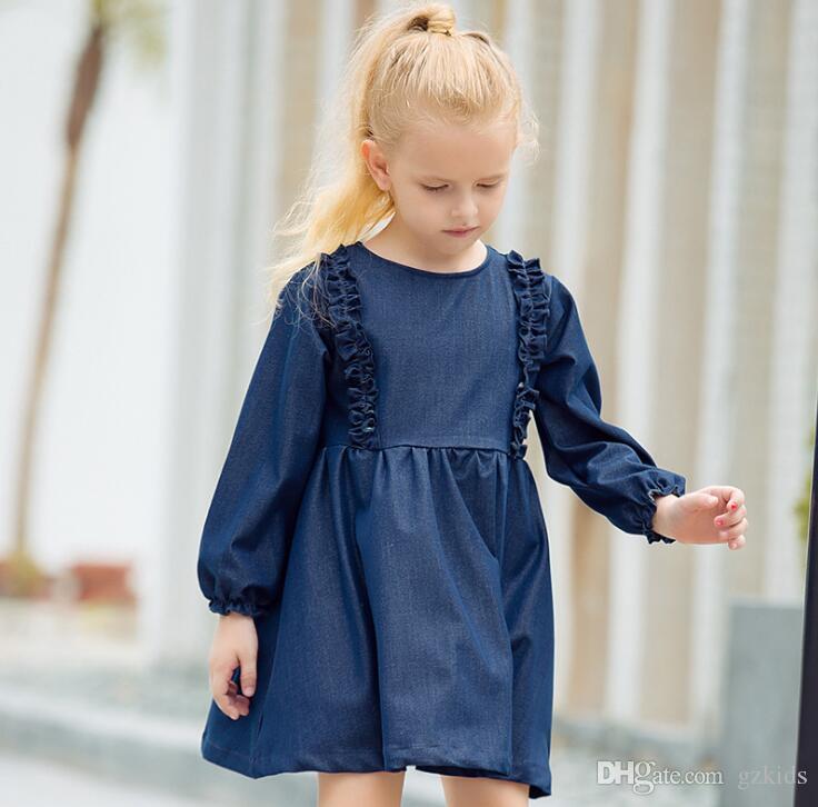f2e6b4e7a Compre Vestido De Mezclilla De Manga Larga Para Niñas Y Niños Vestido De  Mezclilla Princesa Vestido De Ropa Regalo De Navidad Para Niñas ENVÍO  GRATIS A ...