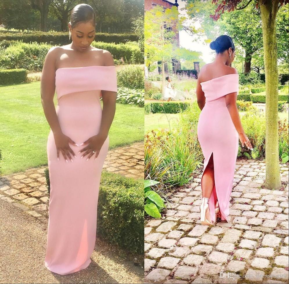 South African Blush Designed Off Shoulder Pink Bridesmaid Dresses Back Split Cheap Maid of Honor Gown Wedding Guest Dress BC1565