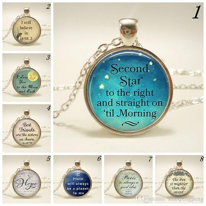 Second Star To The Right Pendant Peter Pan Quote Jewelry Literary