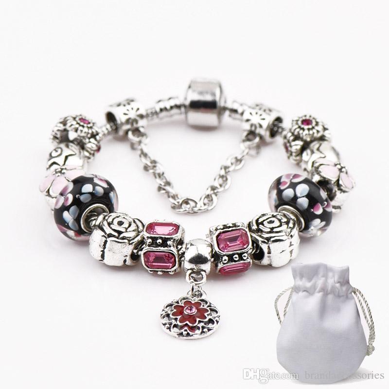 925 Silver Charm Bracelets With Logo Women Luxury Brand Black Beads Crystal  Flower Pendant Fit Pandora Bracelets Bangle Designer Jewelry P07 Bracelets  ... f9e192b40a