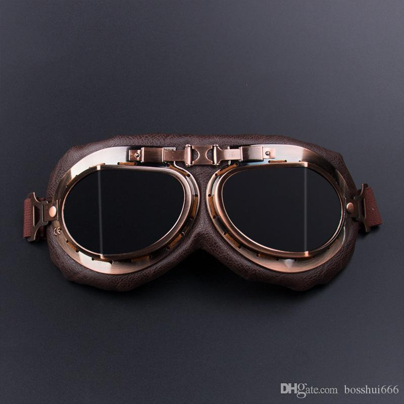 825f9f6203 Motorcycle Goggles Glasses Vintage Motocross Classic Goggles Retro Aviator  Pilot Cruiser Steampunk ATV Bike UV Protection Copper G10 Motorcycle Glass  ...