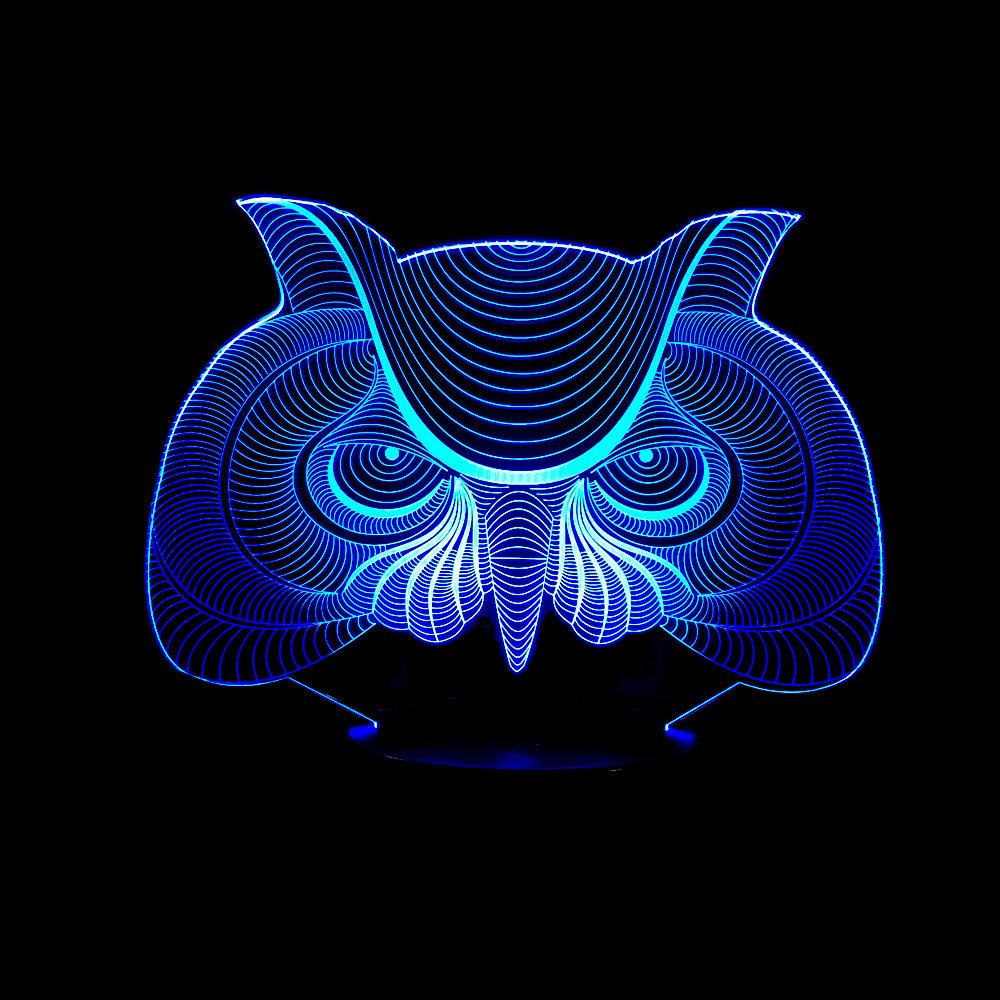 Trade New Pattern Owl Colorful Remote Control 3d Small Night-light Originality Touch Small Desk Lamp Energy-saving Led Illusion Lamp