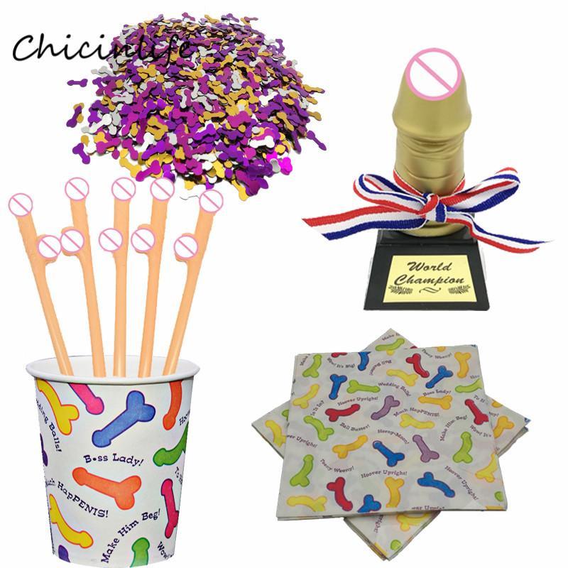 Chicinlife Willy Penis бумажных салфетки C конфетти Bachelorette вечеринки Willy Пейте соломку Свадьбы девичник украшение
