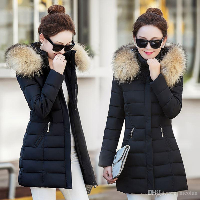 New Winter Jacket Coat Womens Korean Slim White Duck Down Parkas Ladie Hooded Faux Fur Collar Windbreaker Pockets Warm Overcoat