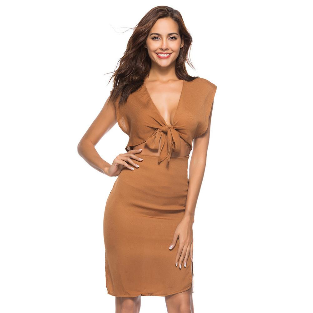 5ec7aed42360 Women Boho Dress Deep V Neck Lace Up Knot Cut Out Bandage Splits Slim Fit  Beach Holiday Wear Bow Tie Front Sheath Midi Dress Dressing Styles For Women  Party ...