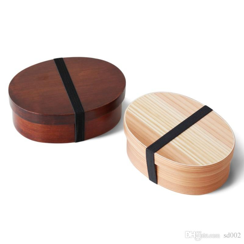 Hand Made Natural Wooden Lunch Box Ellipse Shaped Resuable Bento Boxes For Outdoor Picnic Food Container New Arrival 29yf BB