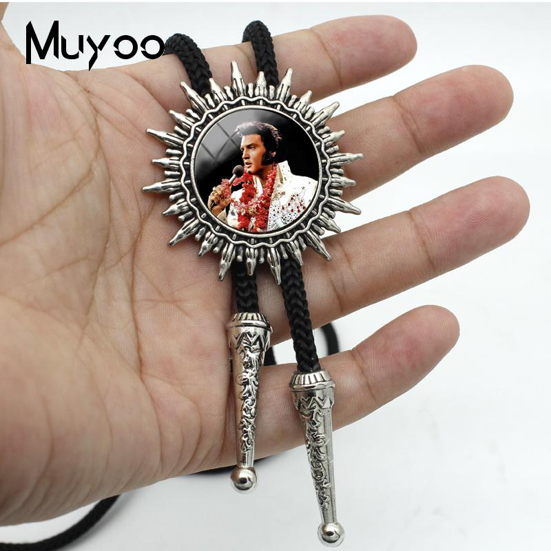 BOLO-0151 New Fashion Glass Cabochon Bolo Tie Hand Craft Elvis Presley Rock Music Singer Jewelry Silver Adjustable Neck Tie