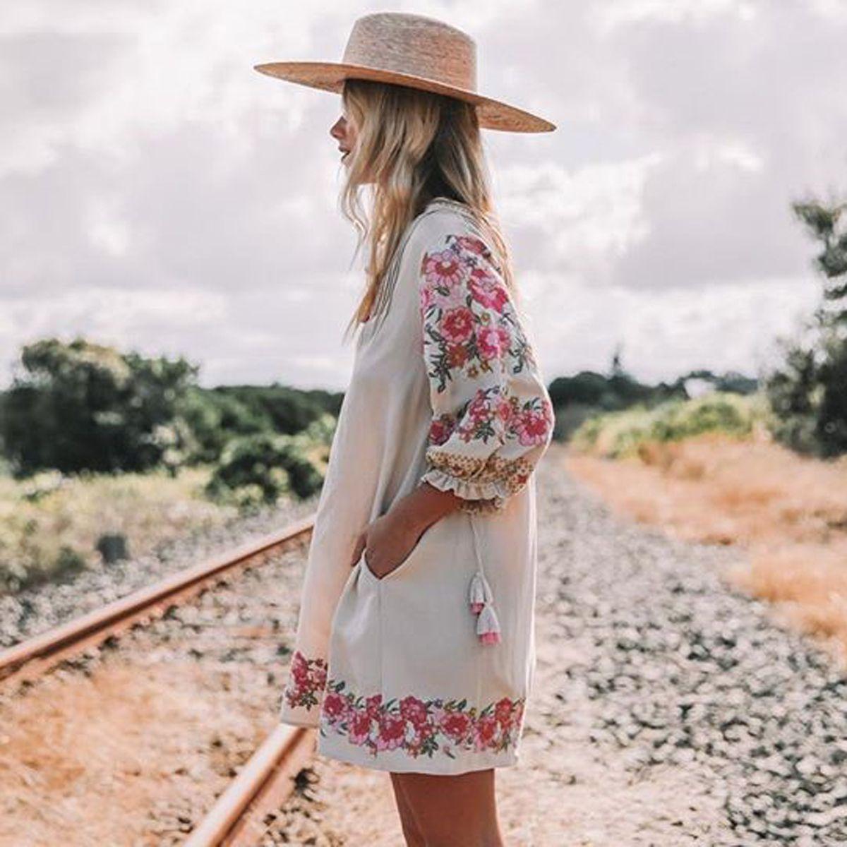 cbb844a8cfb9e Jastie Embroidered Floral Tunic 2018 Spring Summer Dresses Lantern Sleeve  V-neck Tassel Boho Hippie Beach Dress Vestidos Q190521