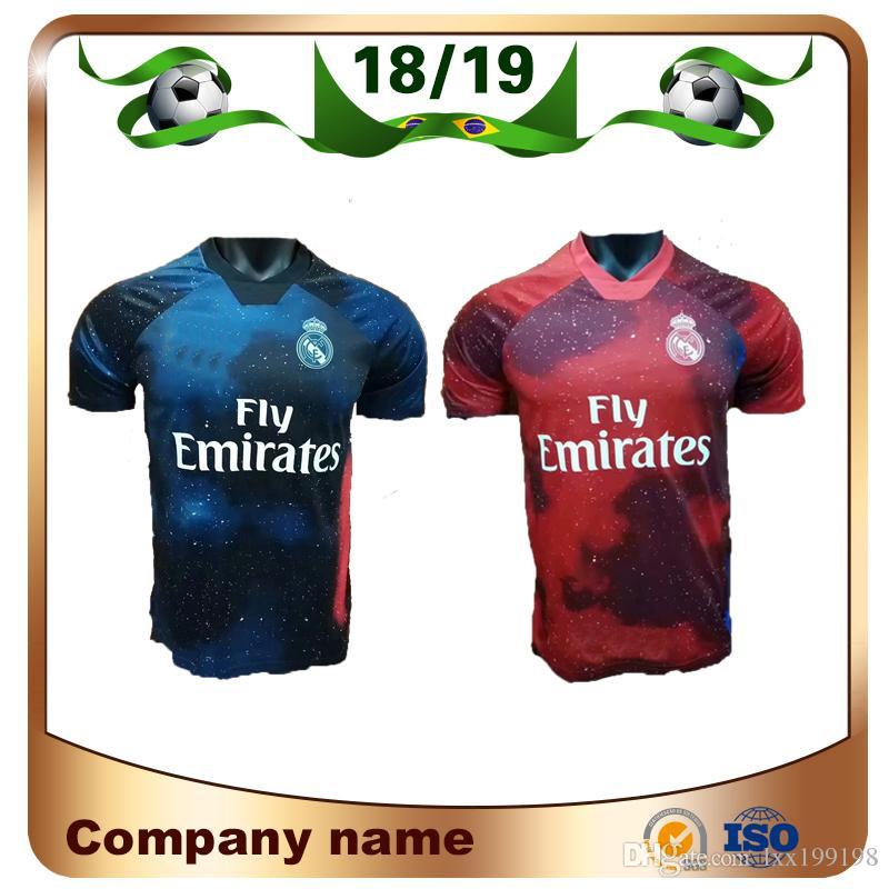 2019 Real Madrid Edición Limitada Camiseta De Fútbol Azul Marino Jersey  RAMOS MODRIC MARCELO ASENSI ISCO Rojo EA Versión Especial Uniforme De Fútbol  Por ... ffeb894efa3f1