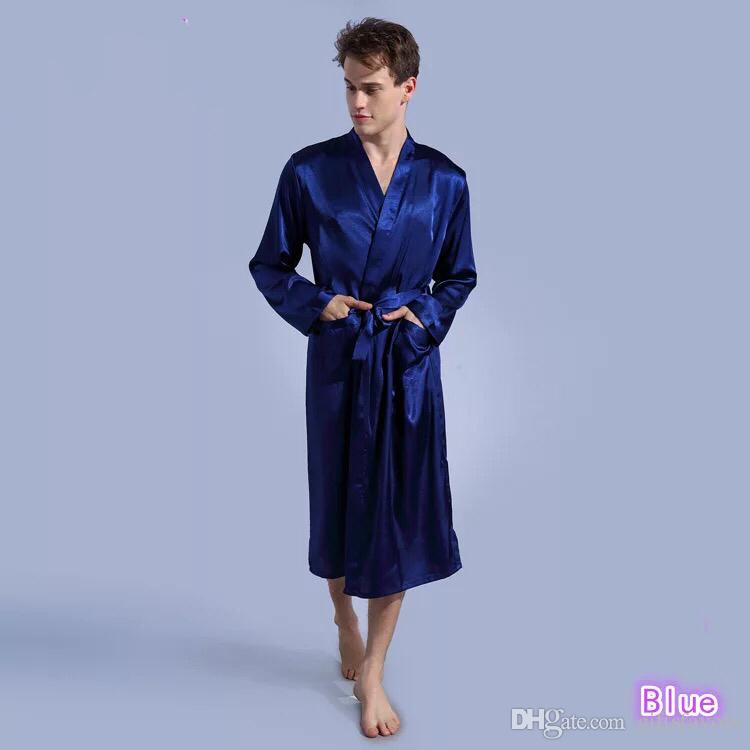 skilful manufacture wholesale sales in stock Long type Satin Robes Royal blue Wedding Groom Groomsman gifts Kimono Robe  for man wholesale free shipping