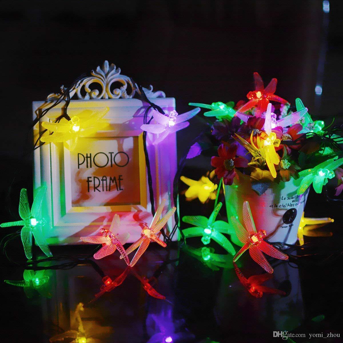 Guirlande Lumineuse Led Libellule Solaire Alimenté 20 Led Extérieur Paysage Lanterne De Jardin Décoration De Noël