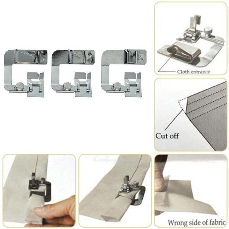 Doméstico Máquina de costura calcador Hem Laminados Pés Selvage engaste Presser Household Máquina de costura acessórios práticos