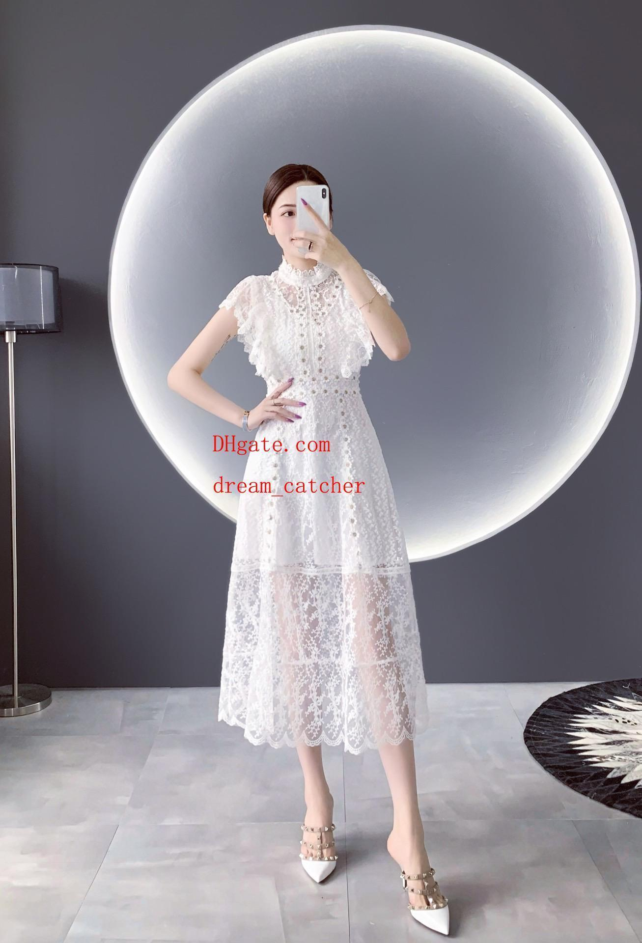 2019 Summer dresses white Pure lace crochet mesh stitching slim dress casual fashion Dresses top quality women clothes AB-13