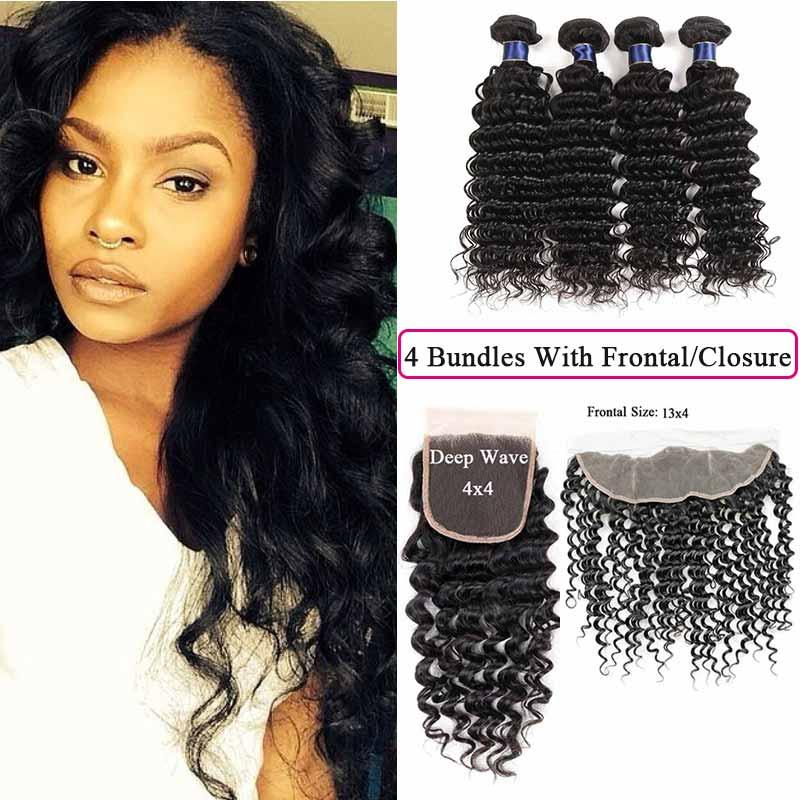 d4561734d4c151 Brazilian Hair Weave Bundles With 4x4 Lace Closure Deep Wave Human Hair 4  Bundles With 13x4 Frontal Malaysian Virgin Hair Quad Weft Hair Extensions  European ...