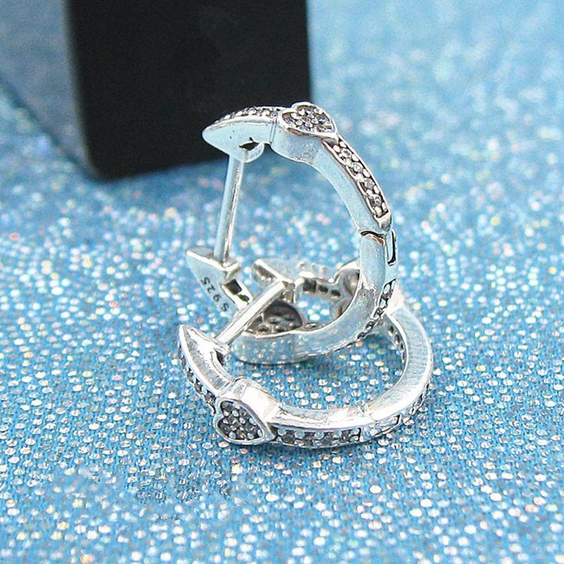 fe6dfec81 2019 2018 New 100% S925 Sterling Silver European Pandora Style Jewelry  ALLURING HEARTS HOOP Earrings With Women Jewelry From Landypandora, $15.88  | DHgate.
