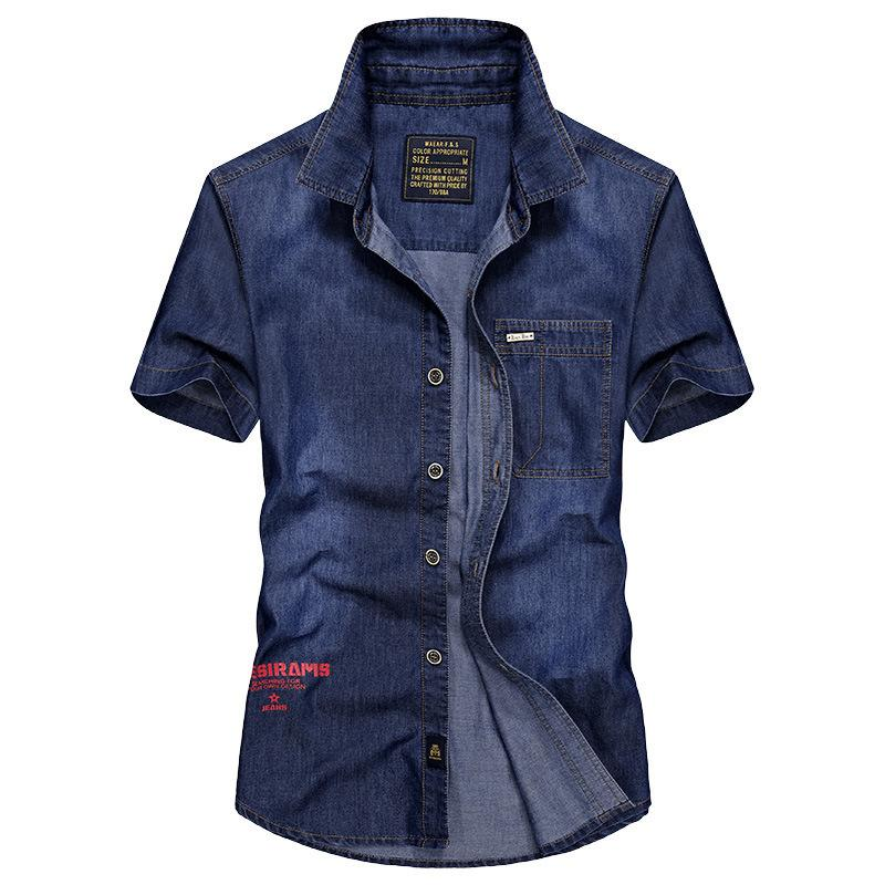 Denim Short Sleeve Shirt Men's Leisure Large Size Upper Clothing Edition Slim Denim Shirt 1753