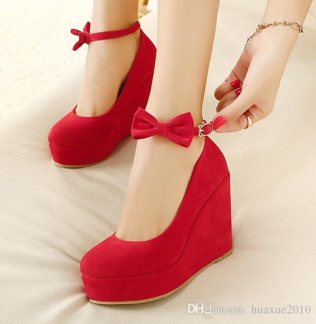 Women High Heels Shoes Plus Size Platform Wedges Female Pumps Women's Flock Buckle Bowtie Ankle Strap Woman Wedding Shoes