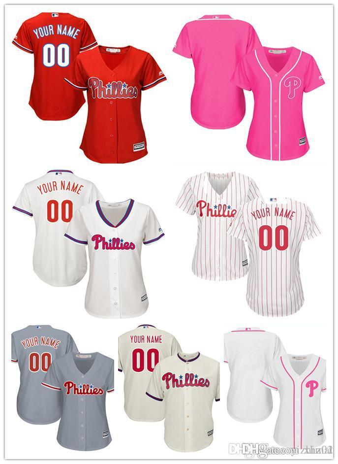 custom women youth Majestic Phillies Jersey #00 Any Your name and your number Home Red Black Grey White Kids Girls Baseball Jerseys