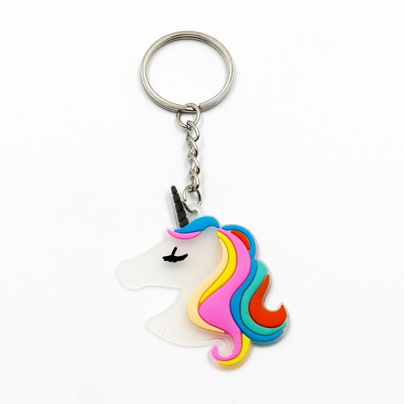 Rainbow Unicorn Party Rubber Luminous Keychain Baby Shower Unicornio Birthday Party Decorations Kids Event Party Supplies