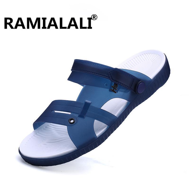 4a8dfc475cf4 Ramialali Summer Slippers Men Casual Leisure Soft Slides Eva Massage Beach  Slippers 2018 Water Shoes Men S Sandals Flip Flops Boots Online Cowboy Boots  For ...