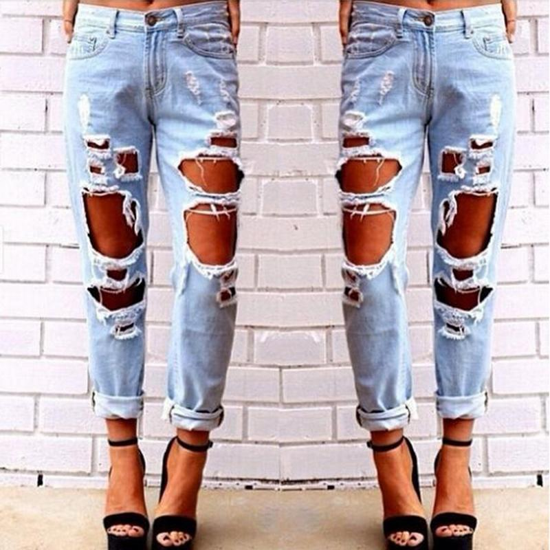 New Boyfriend Hole Ripped Jeans Women Pants Cool Demin Loose Vintage Jeans For Girl Mid Waist Casual Pants Female