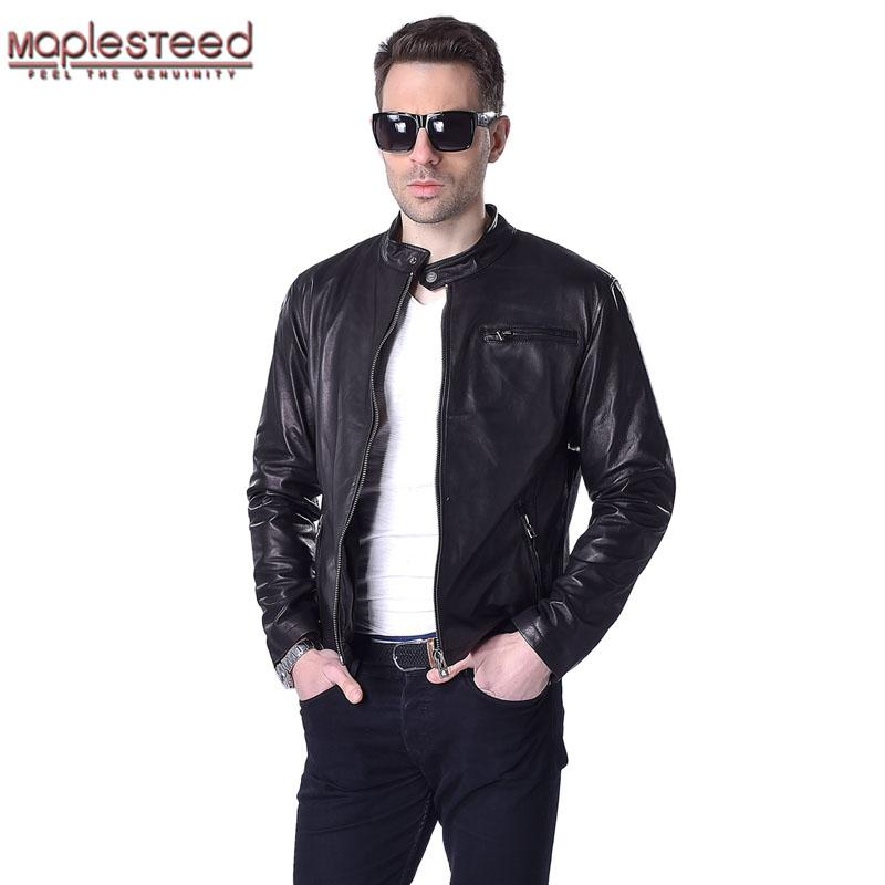 b5bcdf80b MAPLESTEED Men Leather Jacket 100% Real Goat Skin Fashion Brand Black Short  Soft Men's Genuine Leather Coat Spring Autumn M130