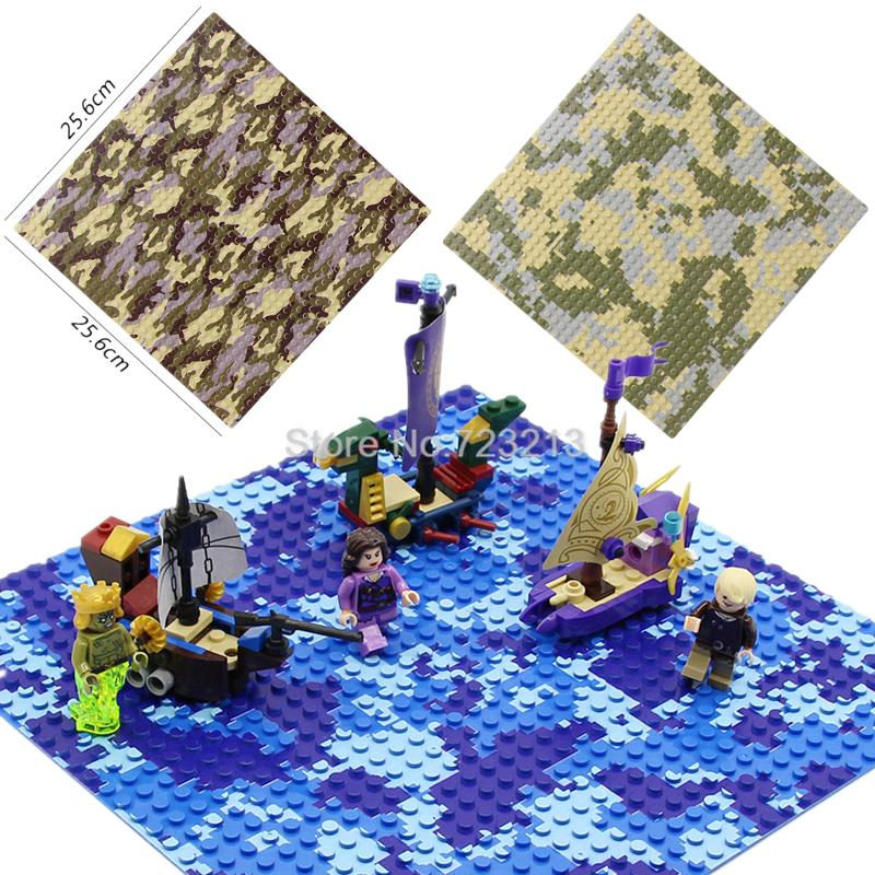 Cheap Blocks Baseplate 32x32 Dots Base Plate for Small Bricks Baseplate Legoingly Military SWAT Sea Base Straight Cross Plate Camouflage