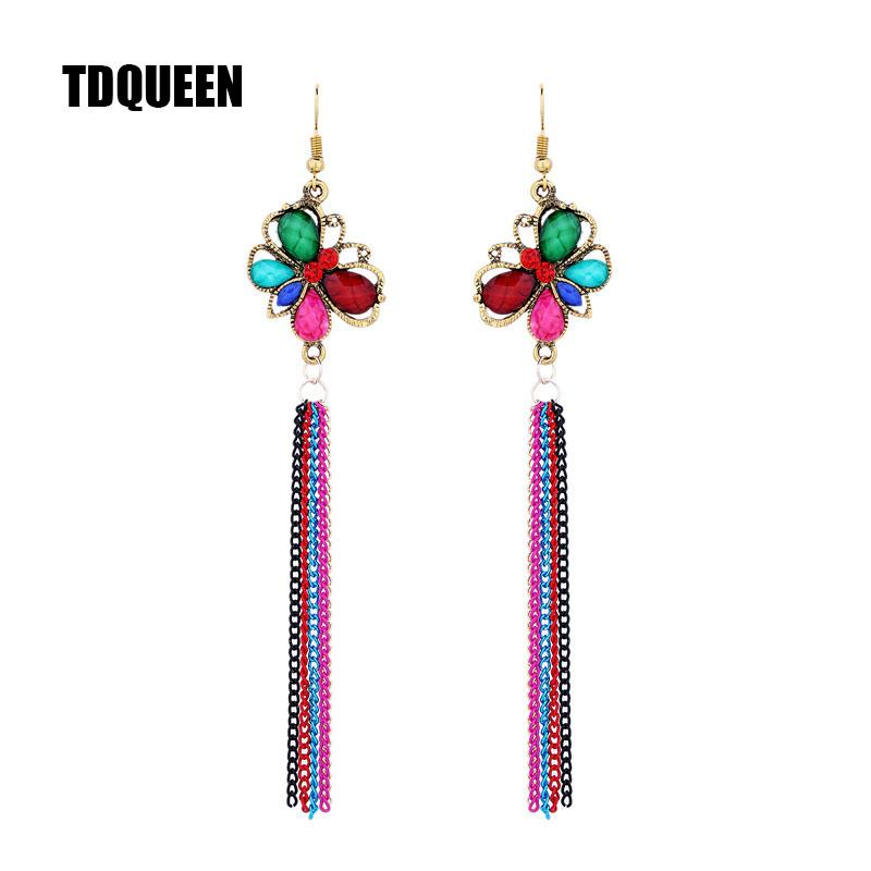 olorful Crystal and Resin Stone Butterfly Trendy Women Multi Colored Metal Tassel Long Earrings Colorful Crystal and Resin Stone Butterf...