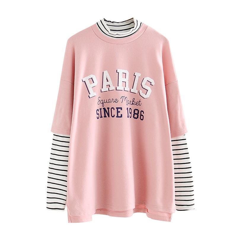 Compre 2018 Rayas Para Mujer Patchwork Camiseta Hip Hop Gran Tamaño Camiseta  De Manga Larga Letras Impresas Harajuku Algodón Divertido Básico CX602 ... c9275a0d814