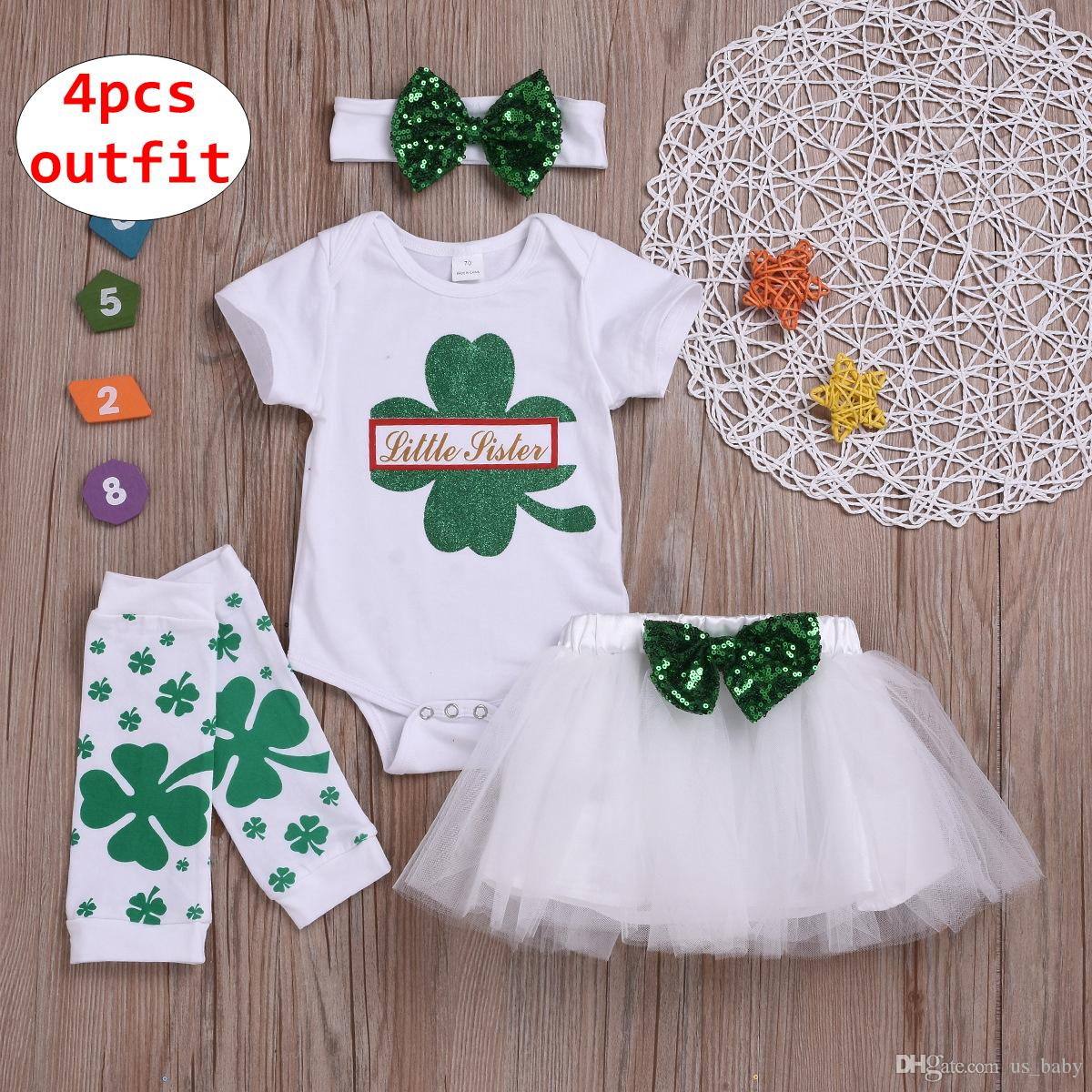 2e74d7953 2019 Toddler St Patricks Day Outfit Baby Girls Sets Rompers & Red Skirt &  Legwarmer & Headband Birthday Party Clothing Set From Us_baby, $8.15    DHgate.Com