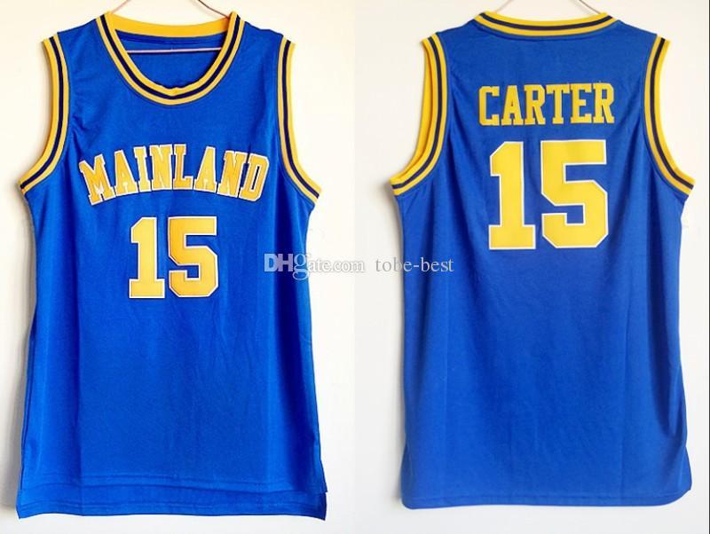new products b6a87 0729b Mens Vince Carter #15 Mainland High School Basketball Jersey Vince Carter  North Carolina Tar Heels College Stitched Basketball Shirts