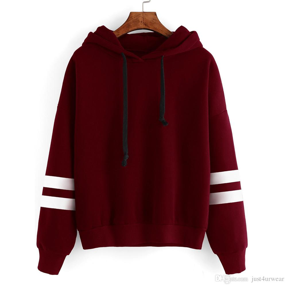 d53420466a5 2019 Arm Striped Design Teenagers Hooded Hoodies Casual Loose Tops  Sweatshirts Women Winter Warm Fashion Pullover Hoodies Clothing From  Just4urwear